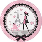 Party in Paris 9 inch Round Dinner Plates,Pack of 8 EA
