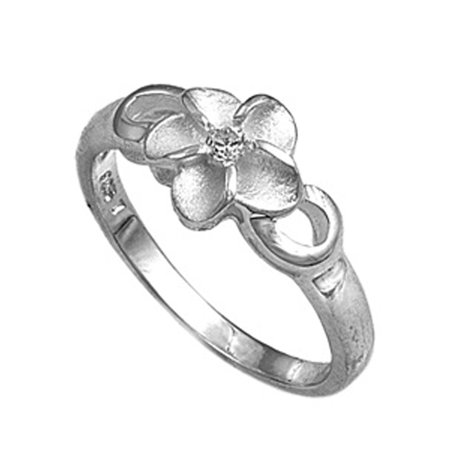 Clear CZ Solitaire Hawaiian Plumeria Flower Ring ( Sizes 4 5 6 7 8 9 ) Sterling Silver Band Rings by Sac Silver (Size 5)