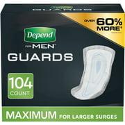 Depend Men's Maximum Incontinence Guards, 104 Count