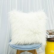 JANDEL 1PC Nordic Posh Style Soft Plush Faux Fur Pillow Square Multi Colors