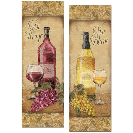 2 Vintage Tuscan White and Red Wine Bottle and Grape Set; Two 6x18in Poster Prints