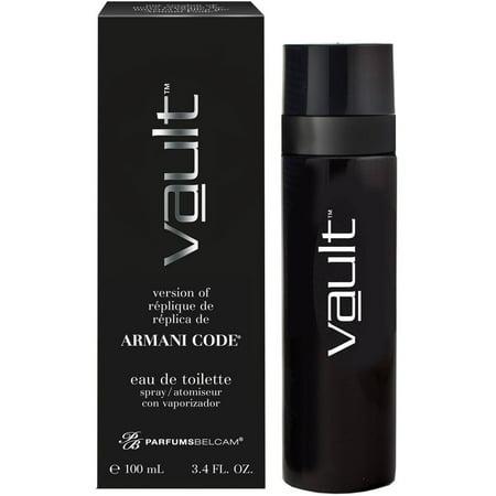 Vault, version of Armani Code*, by PB ParfumsBelcam, Eau de Toilette Spray for Men, 3.4 (Armani Code For Men Eau De Toilette)