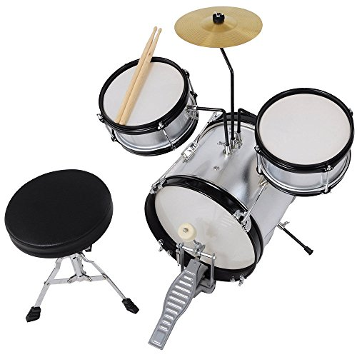 GHP Silver 3-Pcs Kids Wooden Shell Kids Drum Set with Drumsticks & Padded Drum Throne by Globe House Products