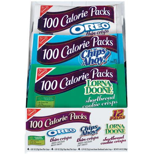 Nabisco 100 Calorie Packs Oreo/Chips Ahoy!/Lorna Doone Crisps Variety Pack, 12ct