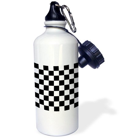 - 3dRose Check black and white pattern - checkered checked squares chess checkerboard or racing car race flag, Sports Water Bottle, 21oz