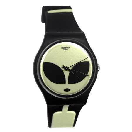 Swatch Originals GB307 Telefon Maison Analog Black Alien Dial Rubber Band (Swatch Jelly)
