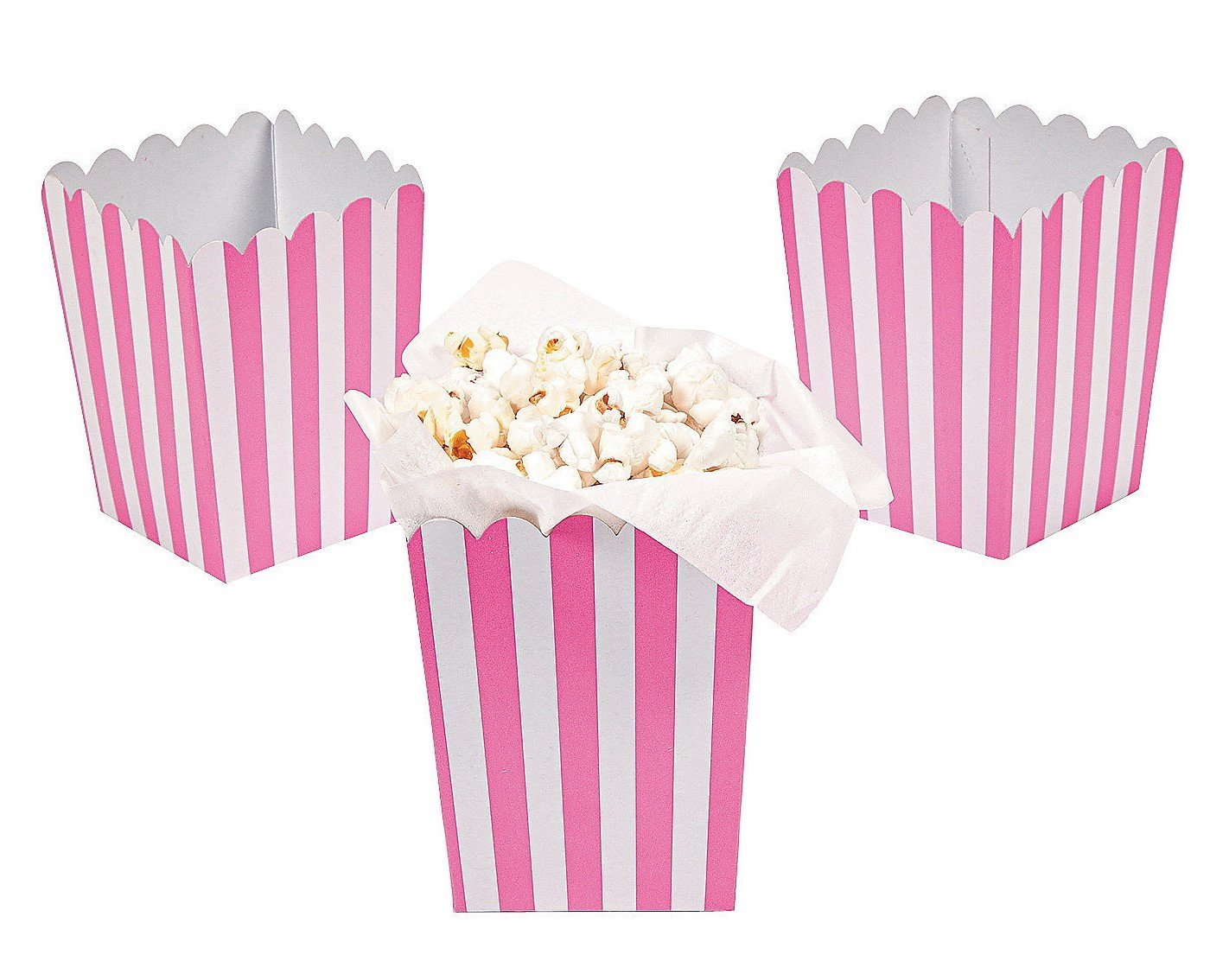 24 Mini Candy Pink Striped Popcorn Boxes - Party Supplies - Walmart.com