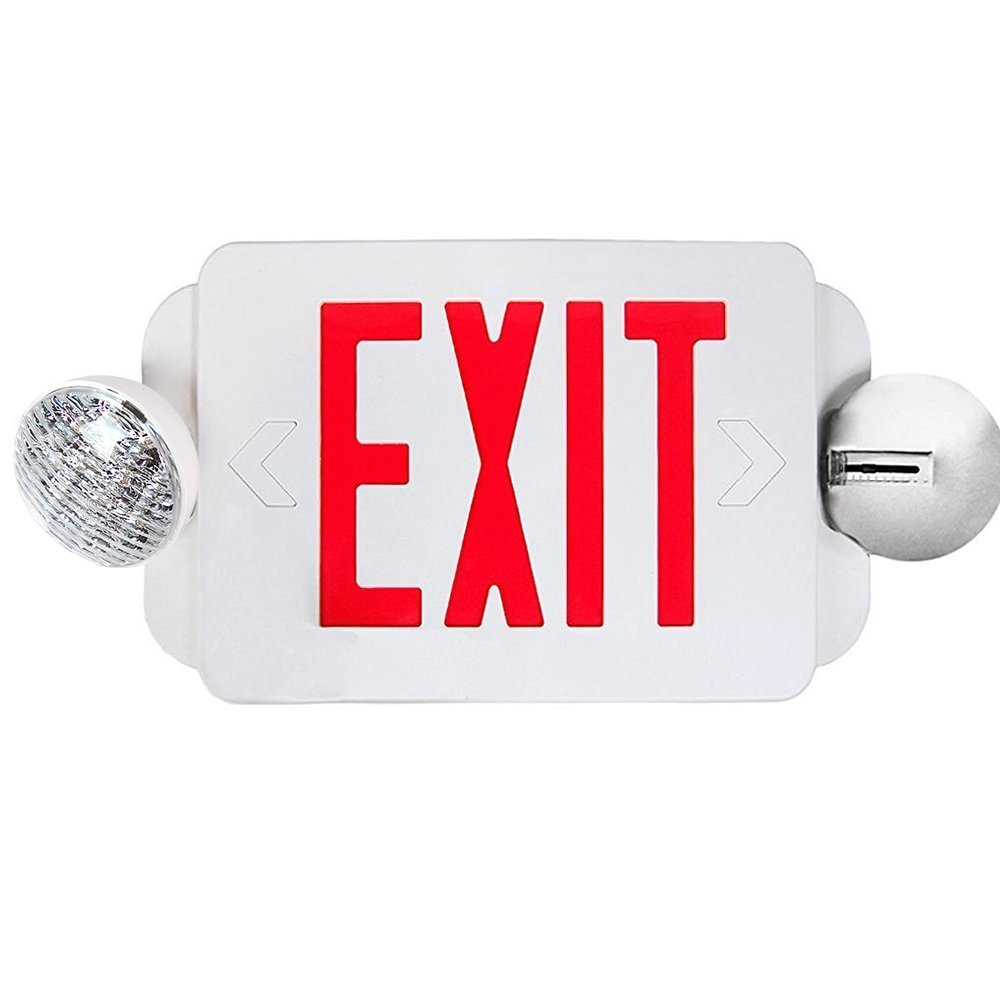 eToplighting Red LED Exit Sign Emergency Light Combo with Battery Back-Up Lighting UL924 ETL listed, WMLS2035