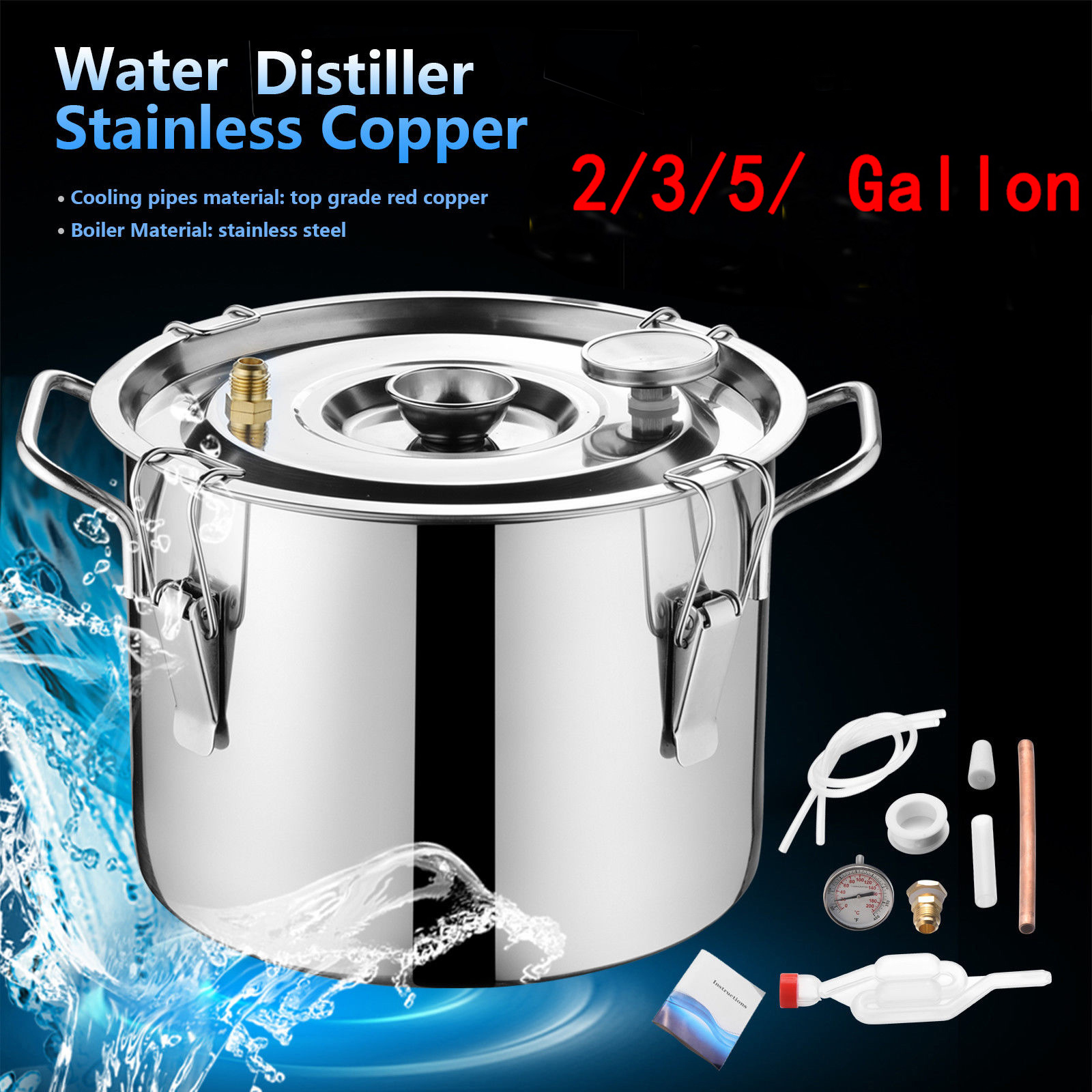 Ktaxon 5 Gallon Distilled Water Machine, Moonshine Still Stainless Steel  Copper Spirits Boiler Distiller Equipment, for Home Distilling Water