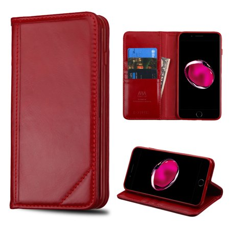 pretty nice a78fd a8991 Mybat Genuine Leather Wallet Case for iPhone 8 Plus / 7 Plus - Red