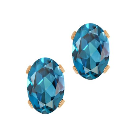1.10 Ct Oval Shape London Blue Topaz Rose Gold Plated Silver Stud Earrings (Rose Gold London Blue Topaz)