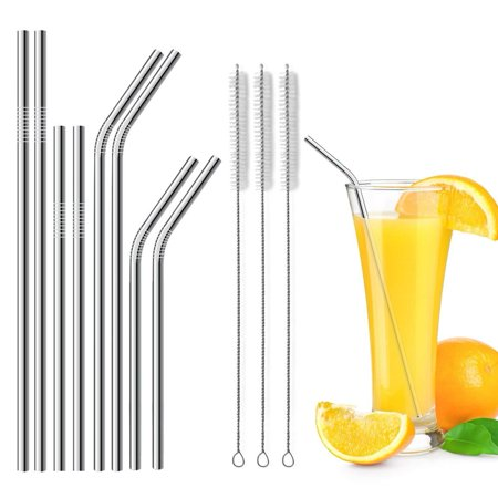 Stainless Steel Straws Set of 8 FDA-Approved Long 10.5 inch For 20 30oz RTIC Tumbler or Yeti 3 Cleaning Brush Included Transparent - Halloween Transparents Tumblr