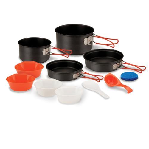 Stansport 4-person Hard Anodized Aluminum Cook Set - 30.43 Fl Oz Pan, 20.29 Fl Oz Pan, 1.27 Quart Pot, 1.80 Quart Pot, Bowl, Spoon, Ladle - Aluminum - Cookware Set - For Cooking - Hard (251_7)