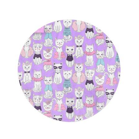 POGLIP 60 inch Round Beach Towel Blanket Colorful Funny Cat Cute Kitten Cartoon Ideal Pink Travel Circle Circular Towels Mat Tapestry Beach Throw - image 1 de 2