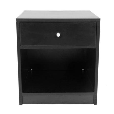 Ktaxon Black Bedroom Bedside Furniture Nightstand End Table Shelf Drawer Strorage ()