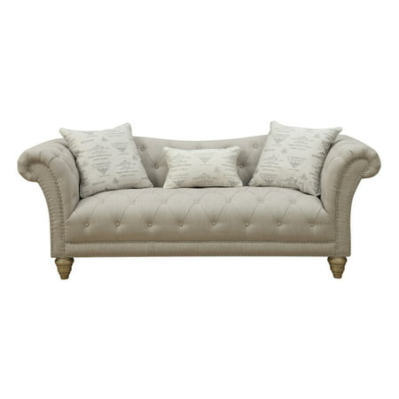 Cool Emerald Home Hutton Ii Off White 90 Sofa With Pillows Button Tufting Nailhead Trim And Turned Legs Forskolin Free Trial Chair Design Images Forskolin Free Trialorg