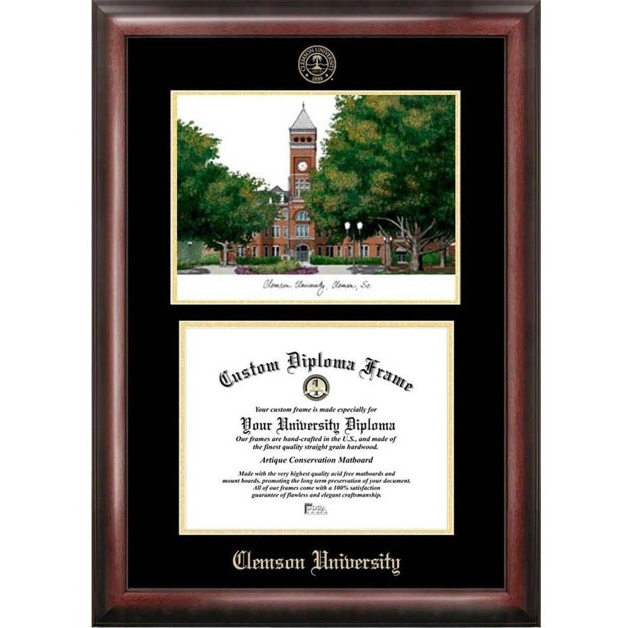 "Clemson University 8.5"" x 11"" Gold Embossed Diploma Frame with Campus Images Lithograph"