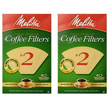 Melitta Super Premium 2 Cone Paper Coffee Filters Natural Brown 40 Count 2 Pack