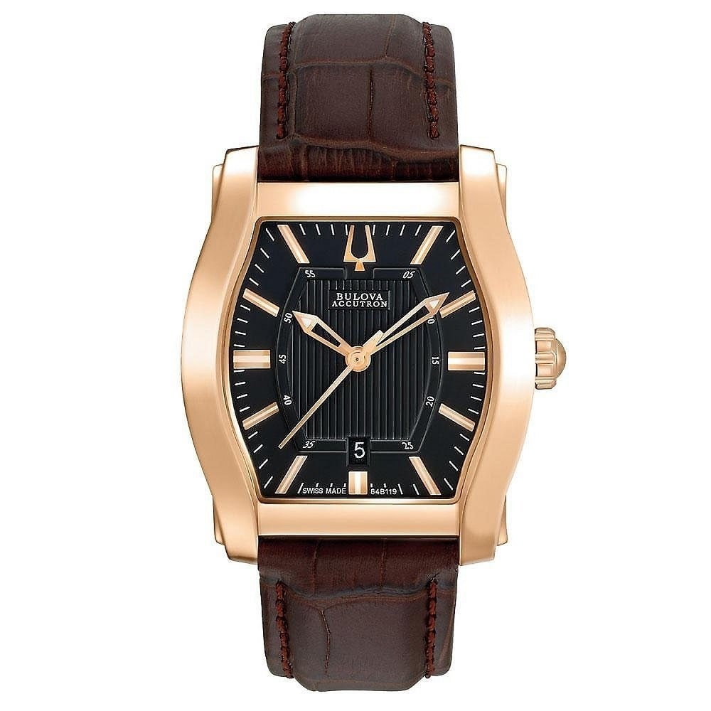 Image of Accutron Bulova Men's 'Stratford' Rose Gold-Tone Stainless Steel Watch
