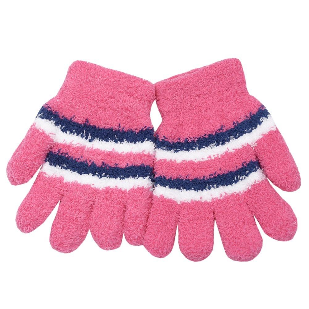 Gold Medal Little Girls Pink White Blue Striped Fuzzy Gloves