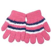 Little Girls Pink White Blue Striped Fuzzy Gloves