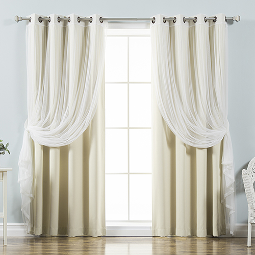 Beige 52 x 84 In. Sheer Lace and Blackout Window Treatments, Set of Four