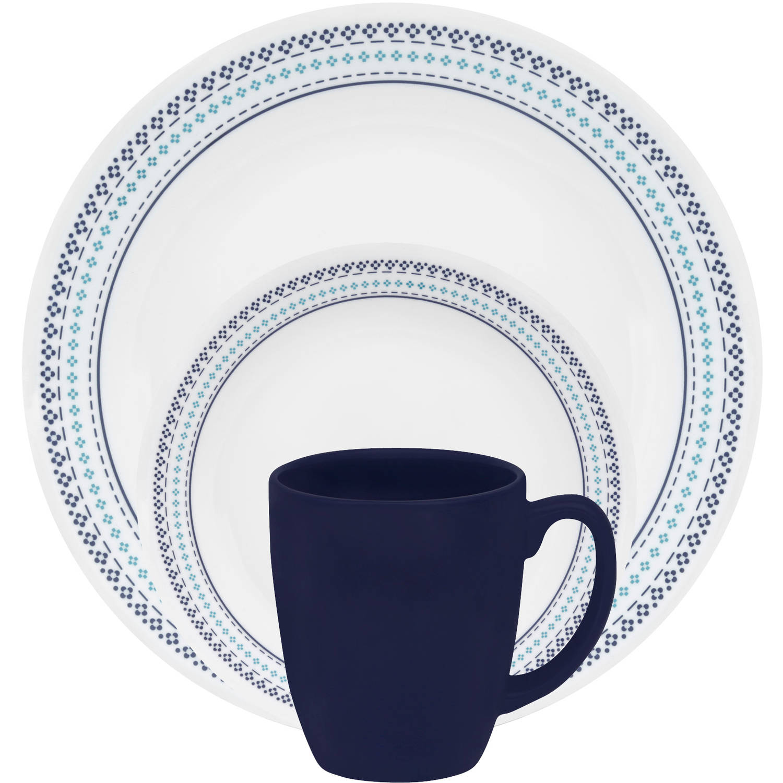 Corelle Livingware Folk Stitch 16-Piece Dinnerware Set - Walmart.com