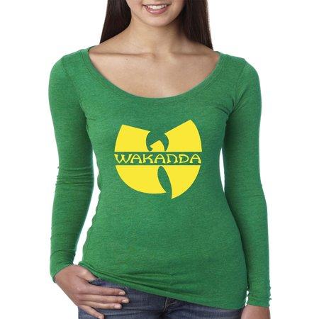 New Way 878 - Women's Long Sleeve T-Shirt Wakanda Wu-Tang Parody Logo Black Panther Medium (Blue Panther)