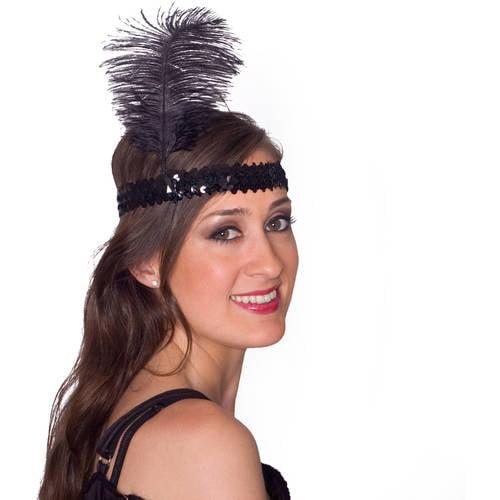 Sunnywood Black Flapper Headpiece