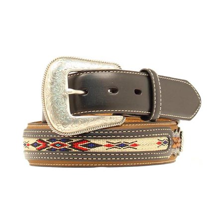 Southwestern Concho - Nocona Men's Top Hand Southwestern Style Inlay Small Conchos Belt Medium Brown 30