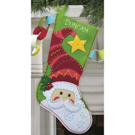 "SANTA FELT CHRISTMAS St. Nick Stocking Die Cut Applique Kit-19"" Long Hat Star"