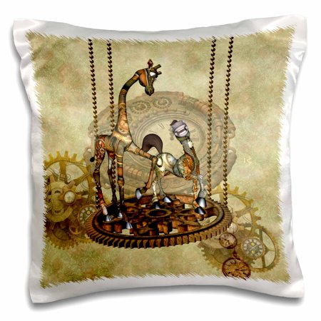 3dRose Best friends steampunk giraffe with steampunk horse - Pillow Case, 16 by (Best Horse Of All Time)