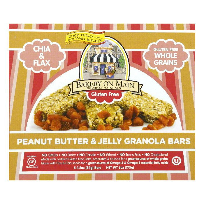 Bakery on Main Chewy Gluten Free Soft Peanutbutter & Jelly Granola Bar, 6 OZ (Pack of 6)
