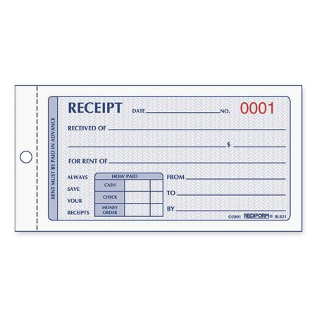 Rediform Rent Receipt Manifold Book - 50 Sheet[s] - 2 Part - Carbonless - 2.75