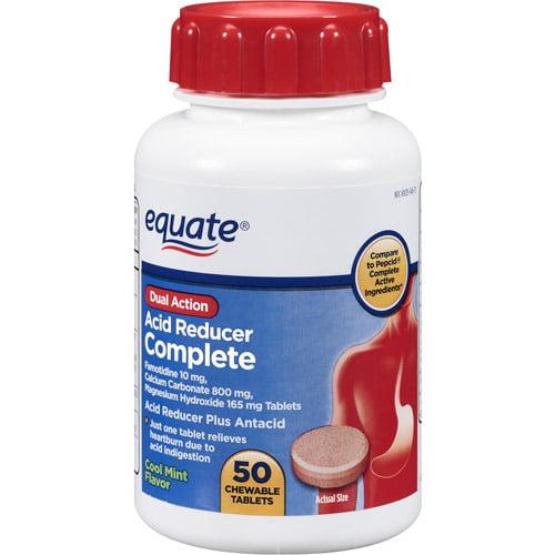 Equate Complete Dual Action Cool Mint Flavor Acid Reducer Plus Antacid, 50ct
