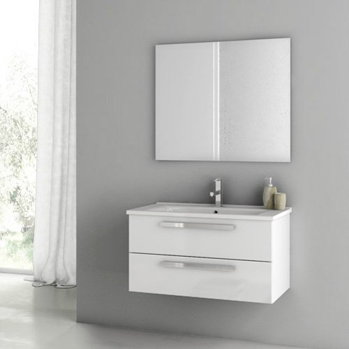 ACF by Nameeks ACF DA02-GW Dadila 33-in. Single Bathroom Vanity Set - Glossy White
