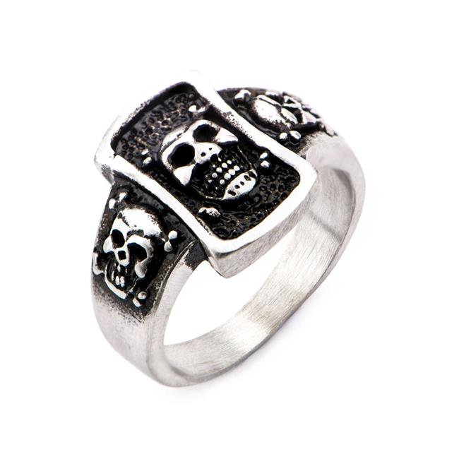 Stainless Steel Brushed Gunmetal Finish Skull Ring - Size 9 - image 1 of 1
