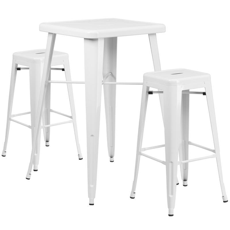 Flash Furniture Metal 3 Piece Bar Table Set in Yellow - image 5 de 7