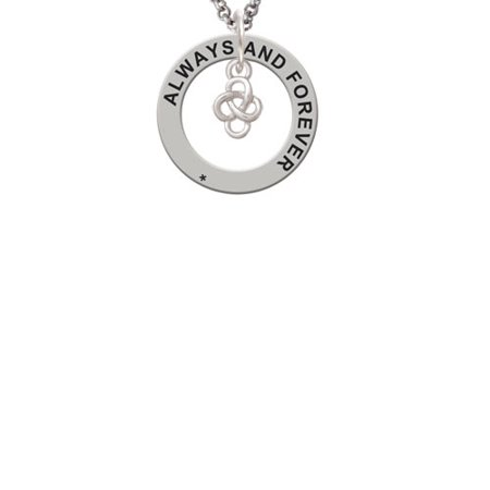 Silvertone Mini Celtic Knot Always and Forever Affirmation Ring Necklace