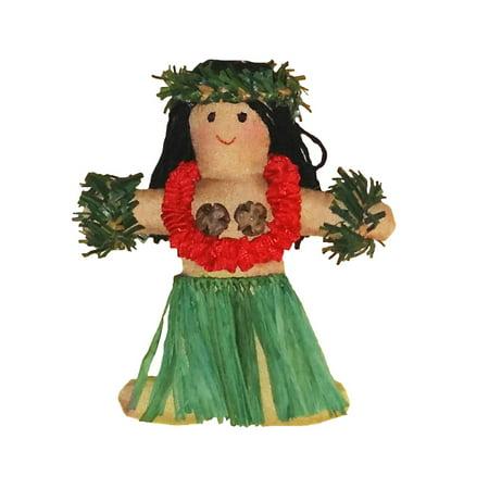 Hawaiian Hula Girl Dancer Fabric Christmas Ornament - Hawaiian Christmas Ornaments
