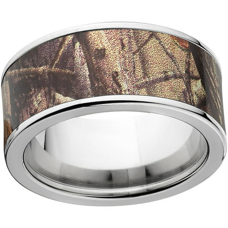 Realtree AP Men's Camo 10mm Stainless Steel Wedding Band with Polished Edges and Deluxe Comfort Fit