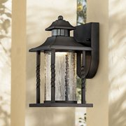 """John Timberland Outdoor Wall Light Fixture LED Black Lantern 11 1/2"""" Clear Crackled Glass Dusk to Dawn Motion Sensor for House"""