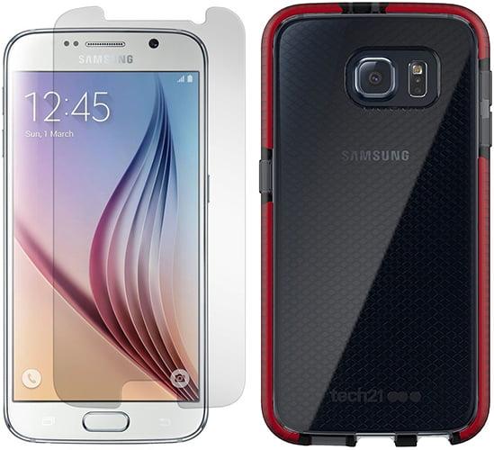 Galaxy S6 Case/Screen Protector, Tech21 Evo Check [ANTI-SHOCK] Cover + PureGear Tempered Glass Screen Guard for Samsung Galaxy S6 (SM-G920)