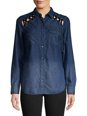 868b9074d8e4f Product Image Petunia Denim Button-Down Shirt. Product Variants Selector.  LEEDS MANCHESTER. Jessica Simpson