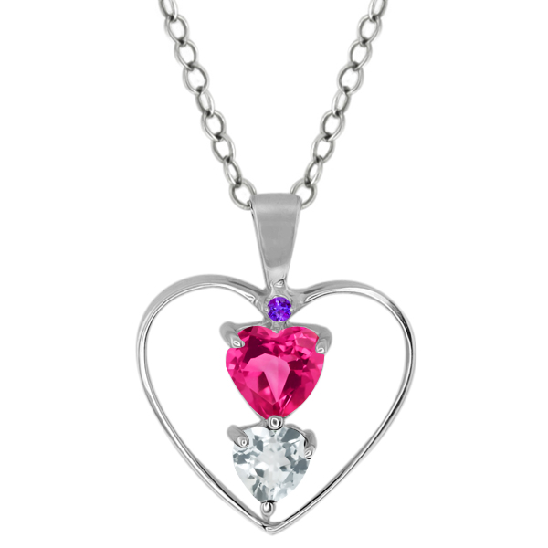 0.69 Ct Heart Shape Pink Mystic Topaz Sky Blue Aquamarine 14K White Gold Pendant