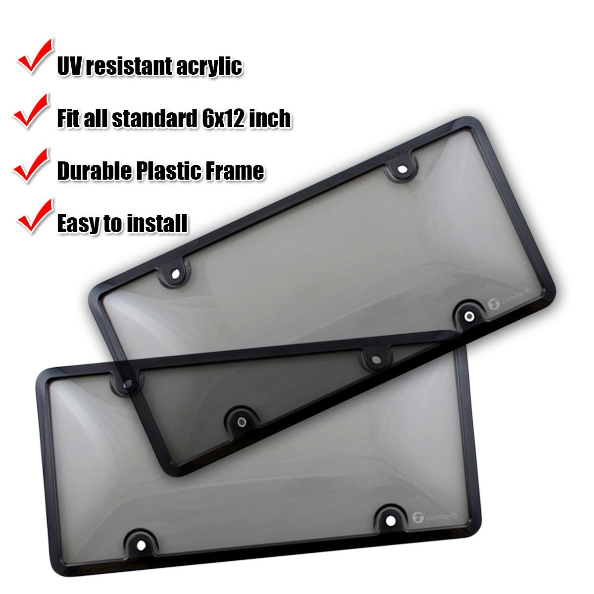 2-Pack Premium Quality Novelty//License Plate Clear Smoked and Black Bubble Shield and Frame Zone Tech Clear Smoked License Plate Cover Frame Shield Combo