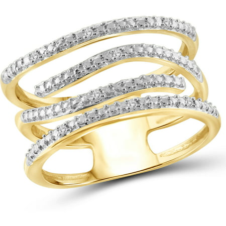 White Diamond Accent 14kt Gold Over Silver Wave Open