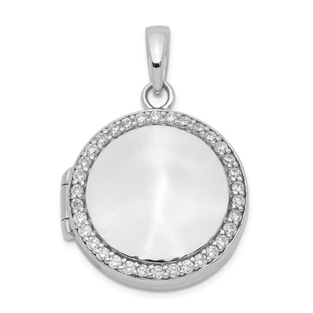 Sterling Silver Cubic Zirconia 23mm Circle Locket