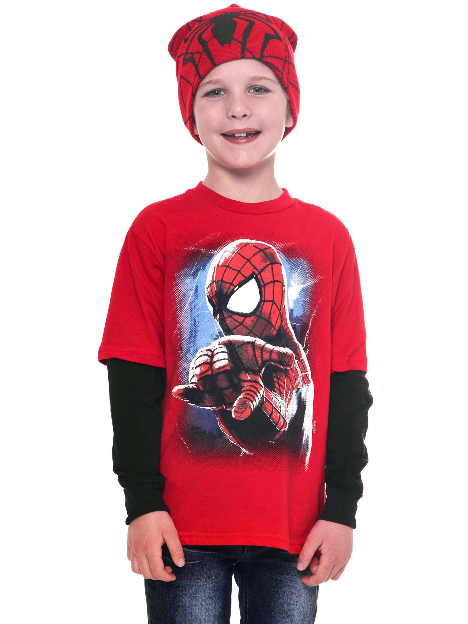 Marvel Spiderman Long Sleeve Kids YouthT-Shirt with Beanie Fashion Combo