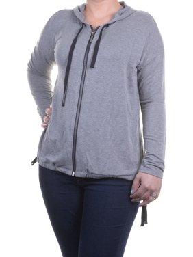 Kensie Women's Drawstring-Hem Hoodie Jacket Heather Size M